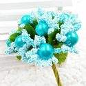 Mini Bouquet Flower Stamen - Imitation Pearl, Light blue, 10 pieces, Long 9cm, [ST1136]